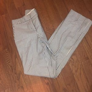 Tory Burch Wide Leg Striped Trouser Pants